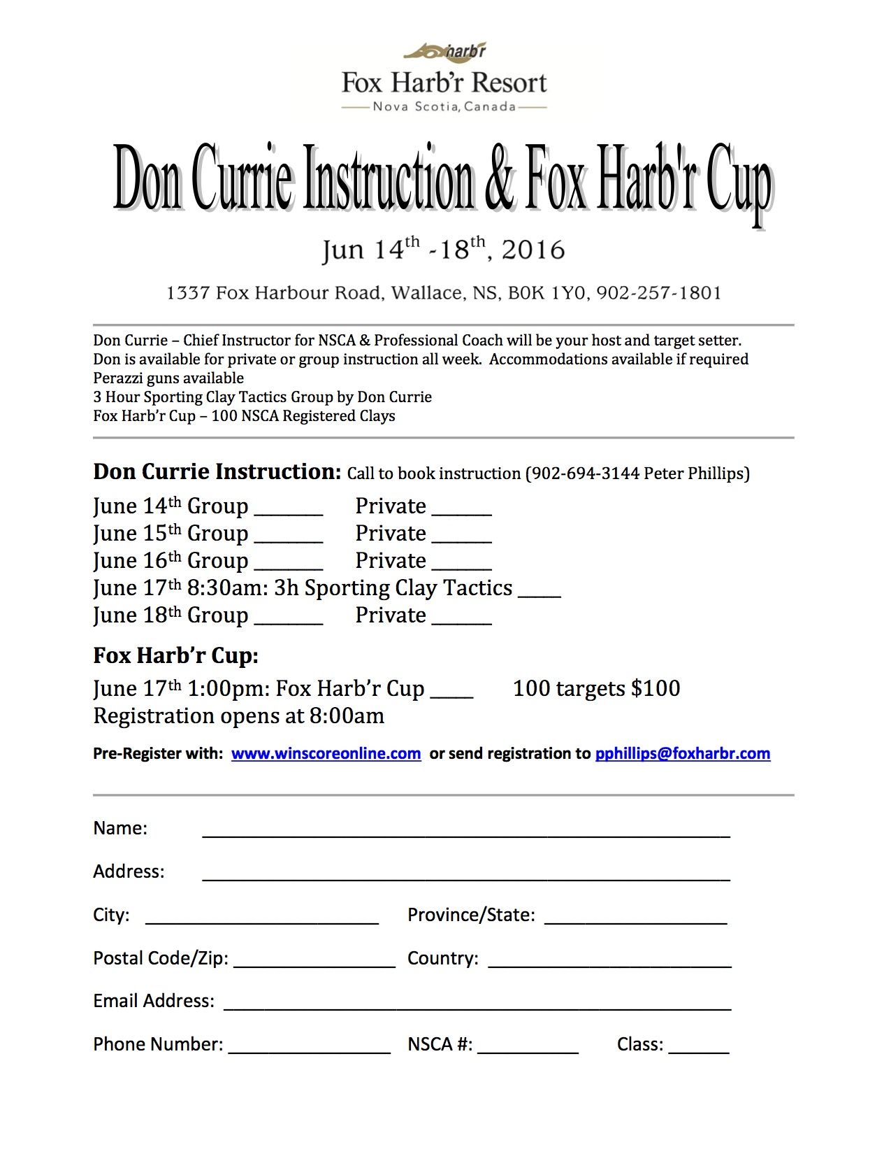 Don Currie & Fox Harb'r Cup Form